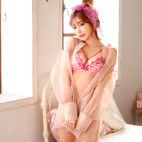 【明日花キララ着用/WhipBunny】Bright Romantic Rose Bra&T-back / Pink [b4u1y][Y415B]
