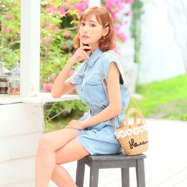 【明日花キララ着用/WhipBunny】[50%OFF!]Flower Motif Basket bag フラワーモチーフ付きカゴバッグ