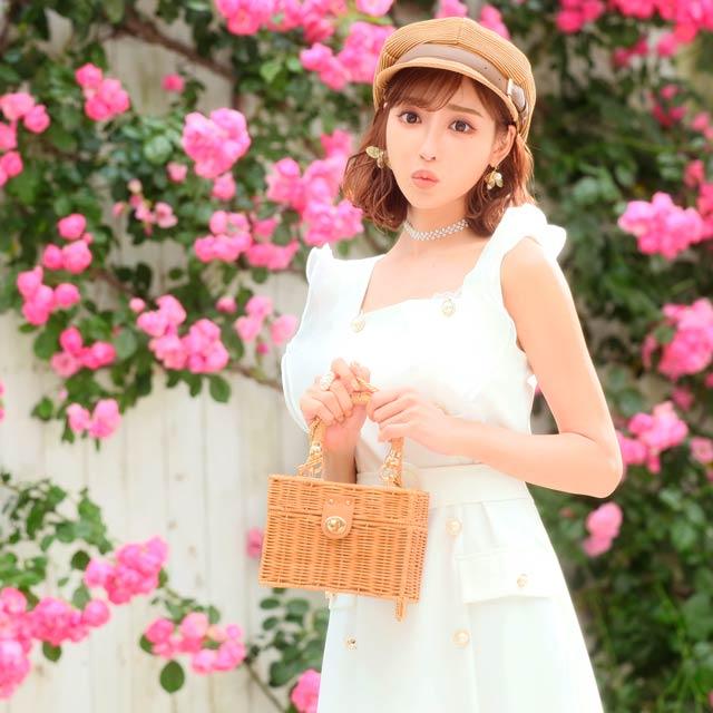 【明日花キララ着用/WhipBunny】[50%OFF!]Square Basket bag スクエア型カゴバッグ