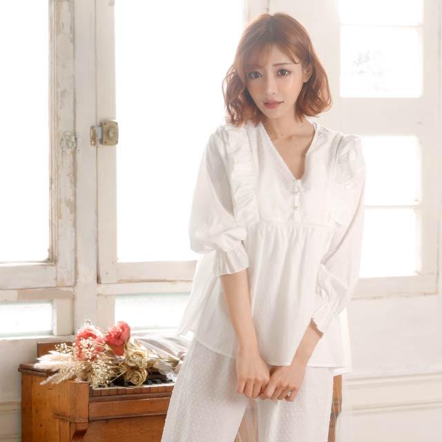 【明日花キララ着用/WhipBunny】White Emboss Frill Pajama ホワイトエンボスフリルパジャマ