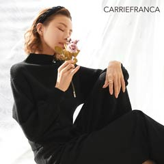 【SpringSale】[CARRIEFRANCA]リブハイネックニット&スリットロングパンツセット